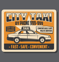 City taxi public transport vintage poster vector