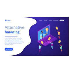 Crowdfunding isometric 3d landing page vector