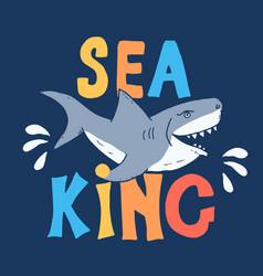 Cute shark hand drawn sketch t-shirt print design vector
