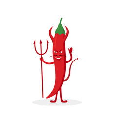 devil chili pepper cartoon character isolated on vector image