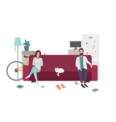 Divorce family quarrel couple on couch vector