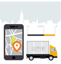Dlivery cargo - location tracker app and mobile vector