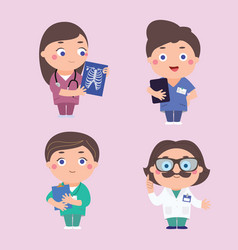 Doctors physicians cartoon characters vector