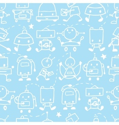 Doodle robots fun seamless pattern background vector image