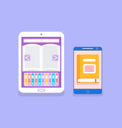 electronic version of the book in gadget vector image