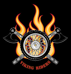 emblem of the motorcycle club motorcycle wheel vector image