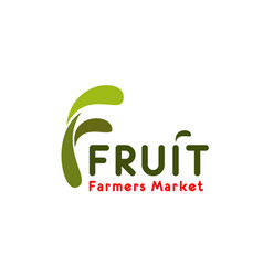 f letter icon for fruit farmer market vector image