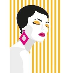 Fashion girl Bold minimal style Pop Art OpArt vector image