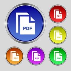 file PDF icon sign Round symbol on bright vector image