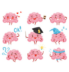 flat set of pink humanized brains in vector image