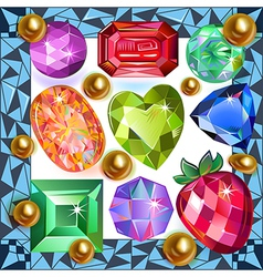 Framed picture precious stones vector