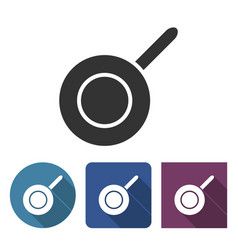 Frypan icon in different variants with long shadow vector