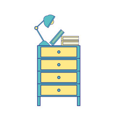 Full color cabinet file archive with lamp desk and vector