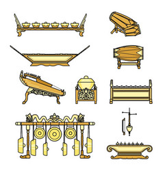 Gamelan set with colour vector