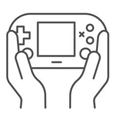 Gamepad in hands thin line icon joypad in arms vector