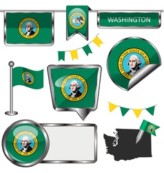 Glossy icons with Washingtonian flag vector image