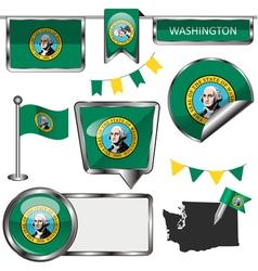 Glossy icons with Washingtonian flag vector