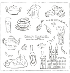 Hand drawn doodle Czech Republic travel set vector image