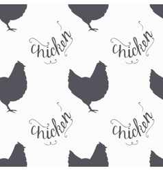 Hand drawn farm bird hipster silhouettes seamless vector image