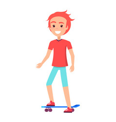 happy boy on blue skate board vector image