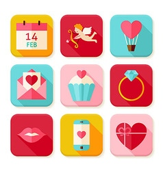 Happy Valentine Day Square App Icons Set vector