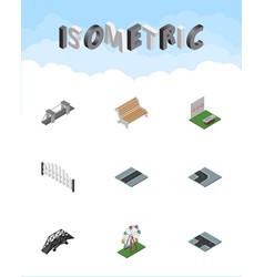 isometric city set of highway seat barricade and vector image