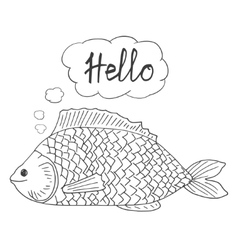 Large cartoon fish greeting mentally Black vector image