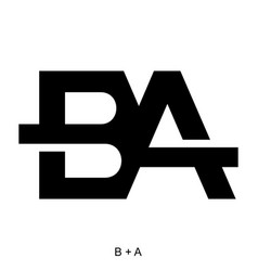 Letter b and a icon concept vector