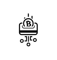 Load card with bitcoin icon vector