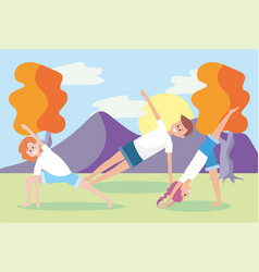 Man and women training yoga exercise vector