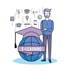 Man with global elearning and graduation cap vector