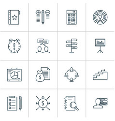 Management icons set with analysis collaboration vector