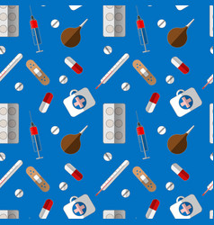 medical symbols seamless pattern therapy flat vector image