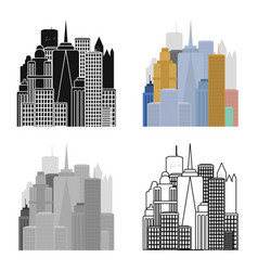 Megalopolis icon in cartoon style isolated on vector