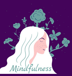 Mindfullness meditation woman meditate mental vector