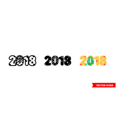 new year 2018 icon 3 types isolated vector image