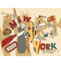new york doodles vector image
