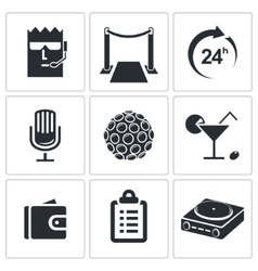 Night Club icon collection vector image