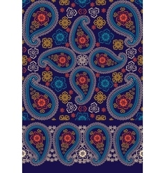 Oriental Paisley seamless pattern and border set vector