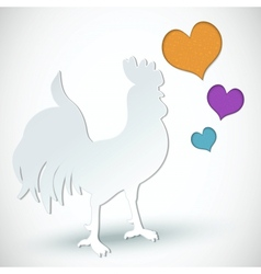 Paper cut greeting card with rooster and hearts vector image