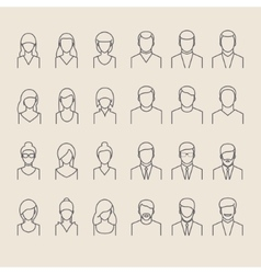 People icons line style vector