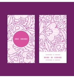 Pink flowers lineart vertical round frame pattern vector