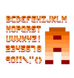 pixel retro font computer game design vector image