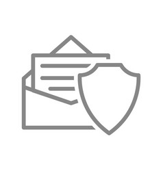 protective shield and letter in an envelope line vector image