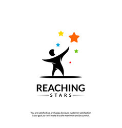 Reaching stars logo design template dream star vector
