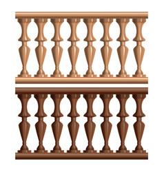Realistic detailed 3d vintage railing wood set vector