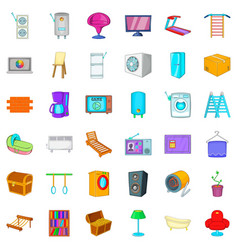 refrigerator icons set cartoon style vector image