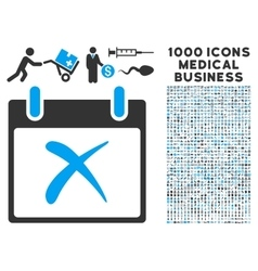 Reject calendar day icon with 1000 medical vector