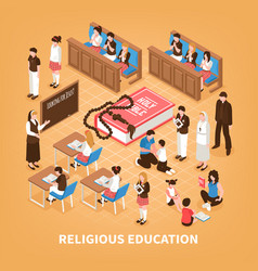 Religious education isometric composition vector