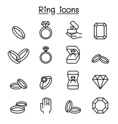 Ring icon set in thin line style vector